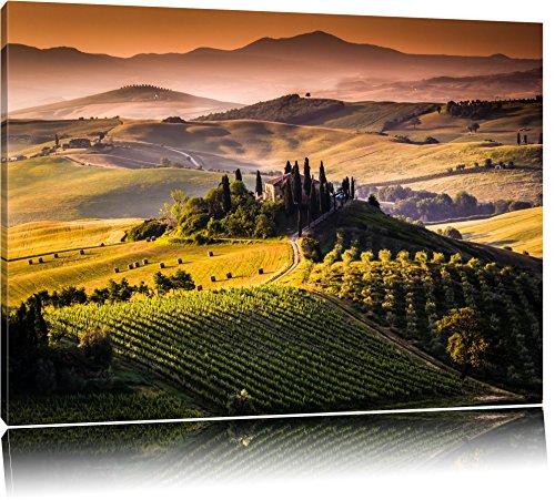 Wunderschöne Toskana Landschaft Format: 120x80 auf Leinwand, XXL riesige Bilder fertig gerahmt mit Keilrahmen, Kunstdruck auf Wandbild mit Rahmen, günstiger als Gemälde oder Ölbild, kein Poster oder Plakat