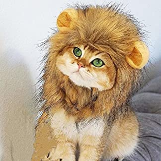 Bello Luna Lion Mane Wig for Dog and Cat Costume Pet Adjustable Washable Comfortable Fancy Lion Hair Dog Clothes Dress for Halloween Christmas Easter Festival Party Activity 61c 2BrWlLotL