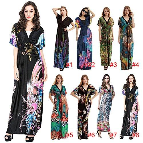 Hrph Mode Féminine Maxi Long Robe de Plage V-cou Robe Bohême Imprimé Fleur Epongeant Courts Manches Robe en Soie Glace Voyage Soirée Party M-6XL #3