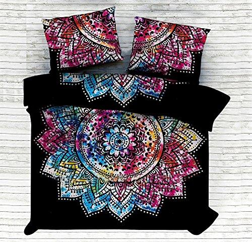 Exklusive Tye & Dye Blume Ombre Doona Steppdecke Cover Tröster indischen Ombre Mandala Hippie Bohemian Queen Set mit Kissenbezügen (Tye-dye-bettwäsche Queen)