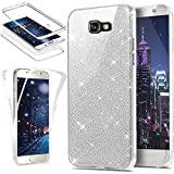 HMTECH Galaxy A3 2017 Paillette Bling Glitter Transparente Silicone TPU Etui Housse Coque Ultra-Mince 360 Degres Protection Full Body Front Back pour Samsung Galaxy A3 2017,Glitter Full TPU:Silver