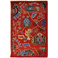79x124 Ziegler Chobi Design Area Rug with Wool Pile | 100% Original Hand-Knotted in Red,Blue,Green colors | a 76 x 122 Rectangular Double Knot Chobi Ziegler Rug made with Vegetable dyes