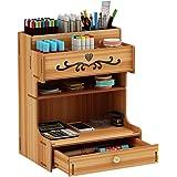 Hggzeg Organiseur de bureau grande capacité en bois avec tiroir pour maison/bureau/école Cerisier