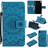 For Sony Xperia E5 Case [Blue],Cozy Hut [Wallet Case] Magnetic Flip Book Style Cover Case ,High Quality Classic New design Sunflower Pattern Design Premium PU Leather Folding Wallet Case With [Lanyard Strap] and [Credit Card Slots] Stand Function Folio Protective Holder Perfect Fit For Sony Xperia E5 5,0 inch - blue