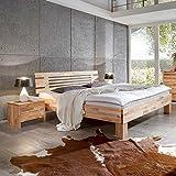 Pharao24 Bett mit 2 Nachtkonsolen Kernbuche Massivholz (3-teilig) Breite 186 cm Tiefe 212 cm Liegefläche 180x200