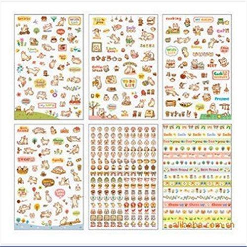 nicebuty 6?Blatt Lovely Cat Deko Aufkleber Klebeband/Kids Craft Scrapbooking Aufkleber Set f?r Diary, Album -