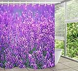 LB Tenda da doccia viola lavanda con motivi in poliestere decorato tende da bagno impermeabile antimuffa arredamento bagno accessori per la casa con 12 ganci per tende 180x200cm
