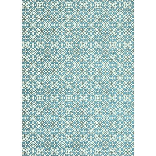 Crystal Art 2teilige waschbar Teppich System Floral Fliesen Aqua Blau & Weiß (Aqua Floral-teppich)