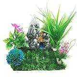 PietyPet Großen Aquarium Wasserpflanzen Kunststoff Aquariumpflanze mit Harz Höhle Fisch Tank Ornament Dekoration, 6 Stück