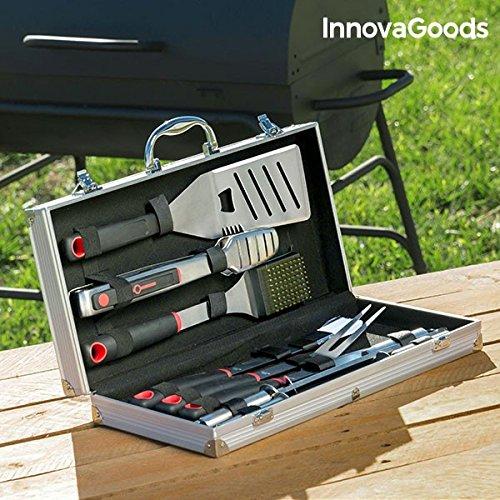 InnovaGoods-Koffer Grillbesteck, Edelstahl, Schwarz, 22x 45x 8cm