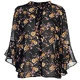 MISO Mujer Blusa Camisa de Flauta Estampada Negro Floral EU 40 (UK 12)