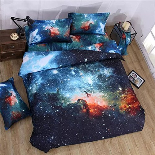 Babycare Pro Galaxy Print Polyester 3D Duvet Cover Bedding Sets Twin Size 4-Piece for Teen Kids( 1 Duvet Cover,1 Flat Sheet,2 Pillow Cases,Comforter Not Included)(Twin) by Babycare Pro (Sheet Twin Sets Teens For)