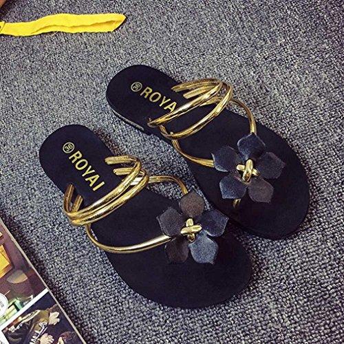 Sandales Pour Femmes , Internet Été Sandales de plage de Bohemia - Fleur Tongs Or