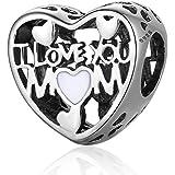 "NINGAN""I Love Mother(Le Amo a mamá)AbaloriosCharmsdePiedradeNacimientoCompatibleconPandora/EuropeasPulsera,Birt"