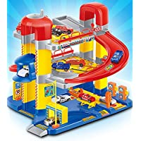 Toyshine Big Size Super Garage Parking Play Set Track Set with 6 Cars, Accessories