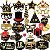 TENDYCOCO 18th Birthday Photo Booth Props Glitter Birthday Party Accessories Supplies NO DIY Required,Pack of 29