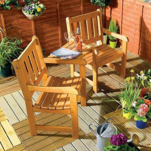 Companion Garden Bench - Corner Love Seat -Jack and Jill - Tete a Tete Set