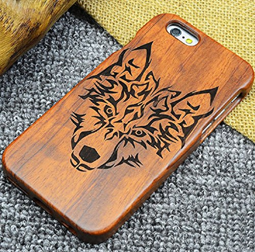 iPhone7/8 St. Benedict Exorcism Holy Cards Coque, CSPB CSSML NDSMD VRS NSMV SMQL IVB Catholicism Constantine Etui, Handmade Rosewood Wooden Etui, TAITOU Slim Wood Case For Apple iPhone 7/8 Wolf