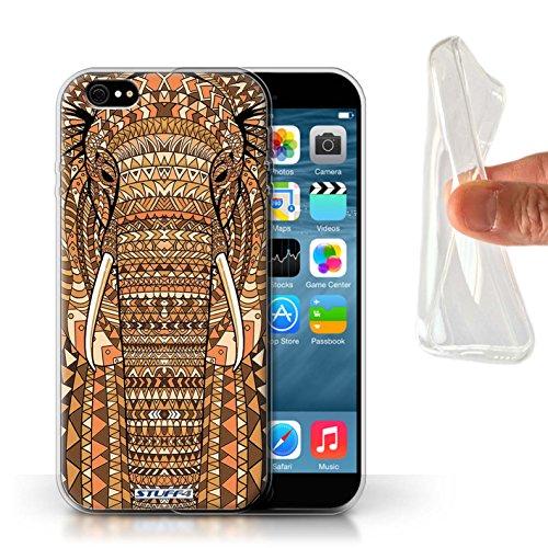 Stuff4 Gel TPU Hülle / Case für Apple iPhone X/10 / Tiger-Rot Muster / Aztec Tier Muster Kollektion Elefant-Orange
