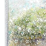Homein Fensterfolie Selbsthaftend Sichtschutzfolie Blickdicht Klebefolie Dekorfolie Fensterfolie Statisch Selbstklebend ohne Kleber Window Film mit Motiv Anti UV 3D Farbig Blüte 90 x 200 cm