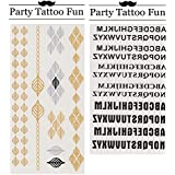 Party Tattoo Fun Temporary Tattoo Fake Tattoo Waterproof Non-toxic Tattoo Stickers Set of 2 Pcs: Metallic Golden and Silver Leaf Shape Chain Design vs Black English Alphabet in 3 Typefaces Design