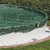 Abdeckplane Pool rund 350-360 cm Winterabdeckplane - 180g/m² - Poolplane -