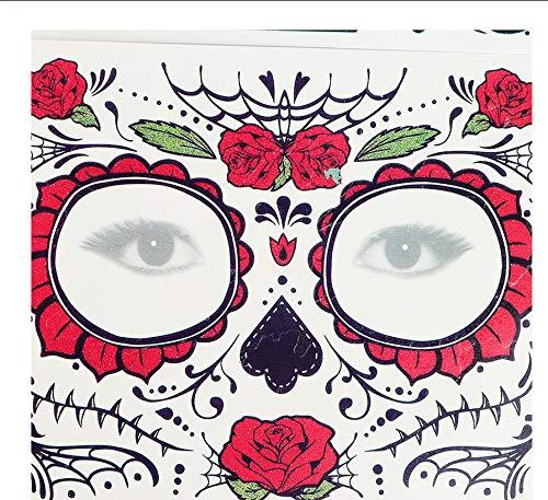 LFVGUIOP Tag der Toten Schädel Gesicht verkleiden Sich temporäre Tätowierung Aufkleber Pop Halloween Gesichts Make-up spezielle wasserdichte Gesicht Tattoo