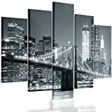 Feeby Frames, Cuadro en lienzo - 5 partes - Cuadro impresión, Cuadro decoración, Canvas Tipo A, 100x200 cm, PUENTE, CIUDAD, NOCHE, NUEVA YORK, PUENTE BROOKLYN, BLANCO Y NEGRO