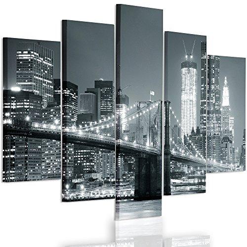 Feeby Frames, Quadro multipannello di 5 pannelli, Quadro su tela, Stampa artistica, Canvas Tipo A, 100x150 cm, PONTE, CITTÀ, NOTTE, NEW YORK, BROOKLYN BRIDGE, NERO E BIANCO