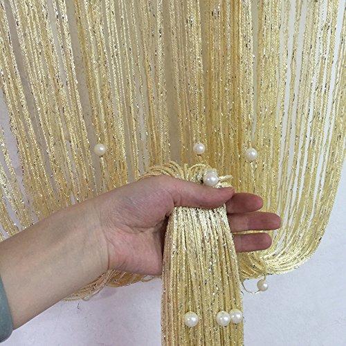 Holz-perlen-trim (Quaste Perlen Vorhang silber Gewinde String mit Kristall Perlen Design Raumteiler Tür Fenster Badezimmer Vorhang für Home Decor Hochzeit Decor gelb)
