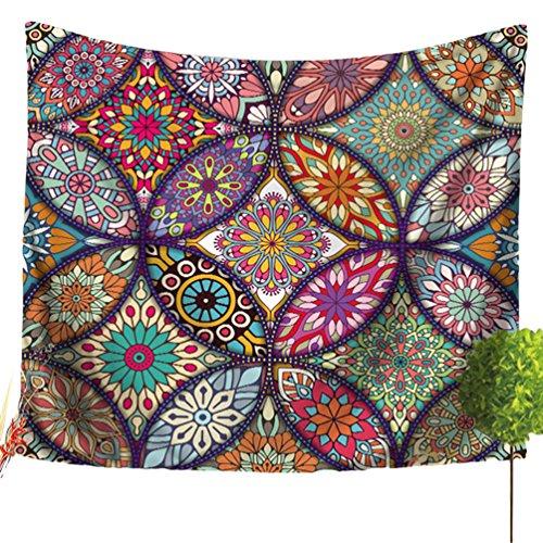 LvRao Mandala Tapisserie, Mehrfarbig Hippie Bohemian Bohemian Wandteppich Indischer Wandbehang für Schlafzimmer Wohnkultur (Mandala #9, 150*200cm)