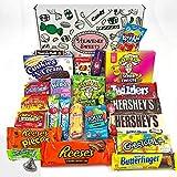 Grand panier de bonbons américains   Sélection de confiseries chocolats authentiques   Assortiment inclut Hersheys Reeses Jelly Belly Gobstoppers   Coffret cadeau vintage de 27 pièces