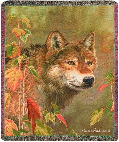 Manual The Lodge Collection 50 x 60-Inch Tapestry Throw with Fringe, Hidden in The Mist by James Hautman by Manual Woodworker - Mist Fringe
