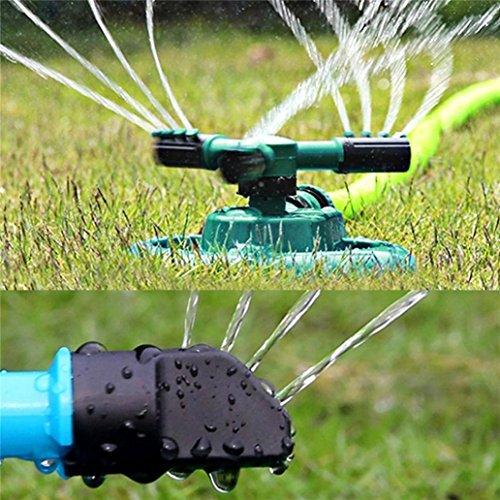Mamum Aspersor giratorio para jardín Garden Trigeminal, aspersor de césped de jardín, cabezal de aspersor automático de agua con rotación de 360 °
