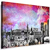 München Wandbild - 100 x 70 cm Querformat Bild - Leinwand mit Rahmen ( Leinwandbild ) Städte Kunstdrucke Skyline, Turm, Brücke Wanddeko St-01-33