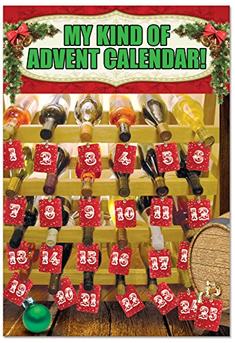 B2535XSG Box Set of 12 Wine Advent Calendar Unique Humor Christmas Greeting Cards with Envelopes