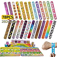 Yetech 78pcs Slap Bracelets Slap Bands Party Bag Fillers for Kids, Fun and Super High Quality Perfect for Kids Party Gift
