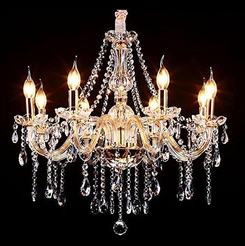 8 Light Nickel Hängen (GCR&LIGHT® Kristall Kerze Kronleuchter Wohnzimmer Schlafzimmer Lichter Glas Led Zimmer Kronleuchter Saug Hängen Dual Use Lichter 8 Head Gold)