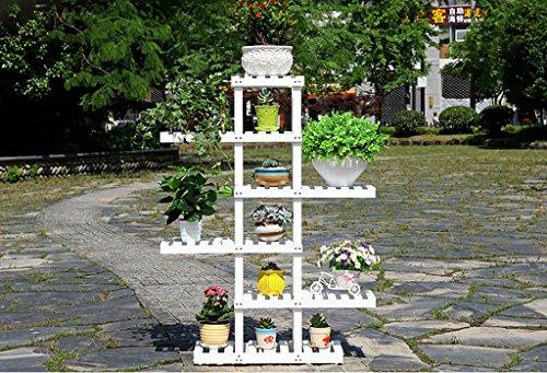 Porte Plante Présentoir de fleur de plantes en bois Support de tablette en bois Pot Atterrissage intérieur extérieur Support de pots multi-couche Étagères à fleurs ( Couleur : Blanc , taille : 125cm )