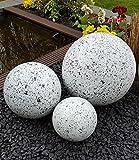 Kugel aus Edelstahl 25 cm Dekokugel Granit weiß Dekorationskugel Edelstahlkugel