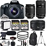 Canon EOS Rebel T6 DSLR Camera + Canon EF-S 18-55mm IS II Lens + Canon EF-S 55-250mm F/4-5.6 IS STM Lens + Canon EF 50mm F 1.8 II Lens - All Original Accessories Included - International Version