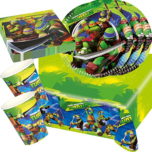 37-teiliges Party-Set Teenage Mutant Ninja Turtle - Teller Becher Servietten Tischdecke für 8 Kinder