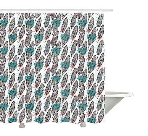 Yeuss moderner Duschvorhang von Animal Federn skizzenhaft mit farbigem Hintergrund Artwork Print, Stoff Badezimmer Dekor Set mit Haken, schwarz weiß Seafoam und Koralle