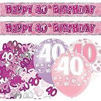 Unique BPWFA-4178 Glitz 40th Birthday Foil Banner Party Decoration Kit, Pink