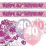 Unique Einzigartige bpwfa-4178Set zum 40. Geburtstag Folie Banner Party Deko-Set, pink