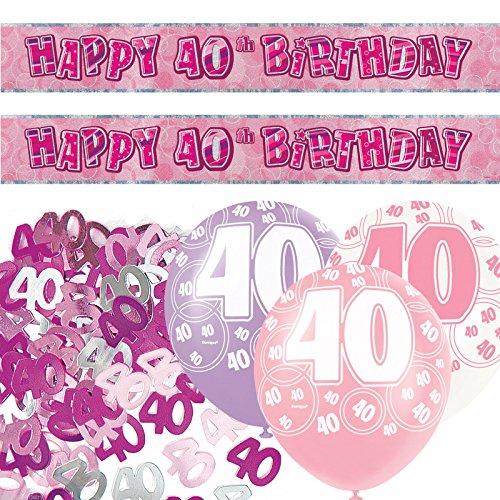 178Set zum 40. Geburtstag Folie Banner Party Deko-Set, pink (Rosa 40th Geburtstag Dekorationen)