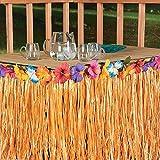 KING DO WAY Gonna Tavolo in Plastica, Tovaglia da Tavolo, Decorazione per Festa, Stile Hawaiana in Colore di Paglia, 244x75cm