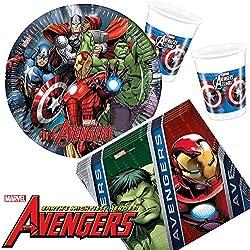 37piezas Party * Avengers Assemble * con plato + taza + Servilletas + decoración//Cumpleaños Set Vajilla para Fiesta Party Fiesta temática temática Marvel Superhéroes Thor Capitán América Iron Man Hulk
