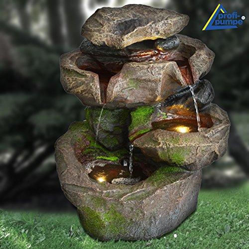 Fontana da giardino - fontana a cascata - fontana da interni - fontana decorativa - fontana da camera - fontana decorativa da interni - fontana per interni con luci a led 230v (cascata di pietra foresta nera con luce a led)