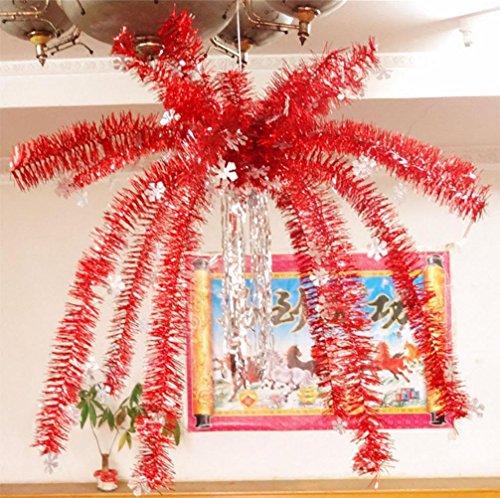 xiuxiandianju 80CM Weihnachten Decke suspendiert Neujahr 's Day Dekorationen Hanging Flowers Hanging Baskets Hanging Tops Schneeflocke Hanging Tree , red